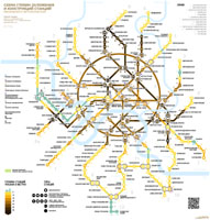 The tunnels depth and stations structure map of Moscow Metro. March 2017