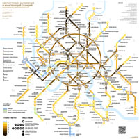 The tunnels depth and stations structure map of Moscow Metro